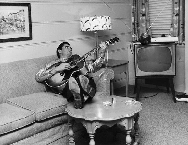 Johnny Cash with his guitar. Nashville, Tennessee, 1960.