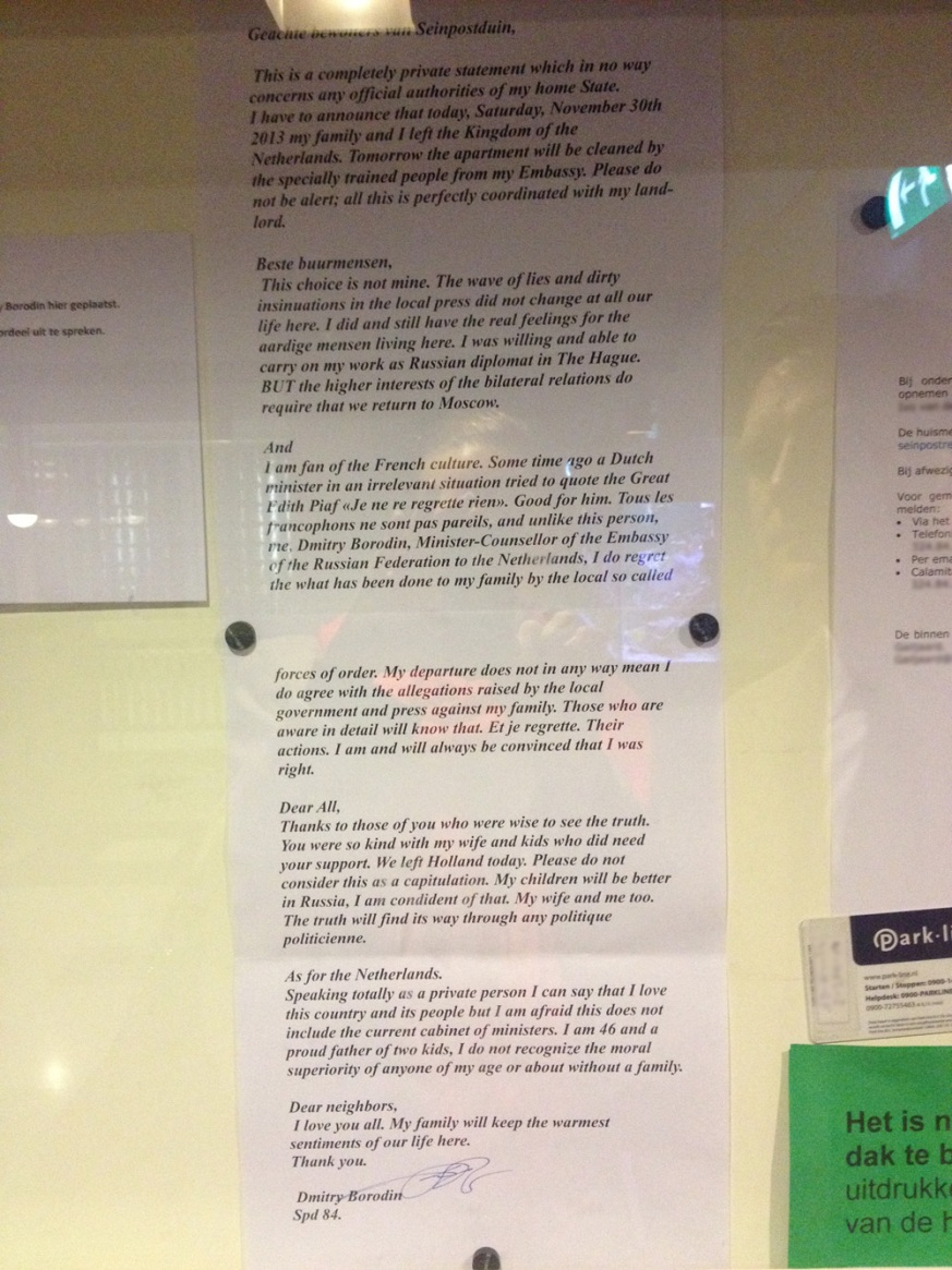Afscheidsbrief Russische diplomaat Borodin voor bewoners van zijn Haagse flat.