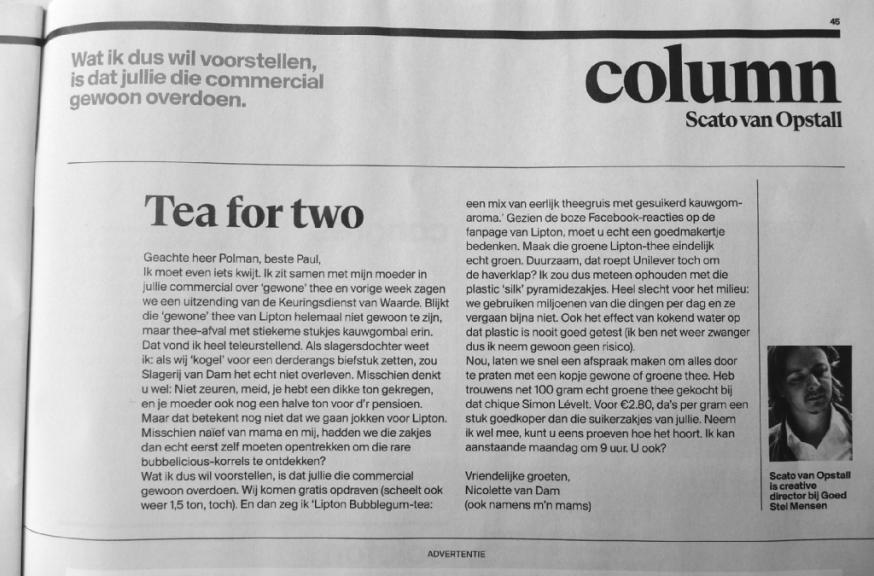 Tea 4 2, theezakje blijkt rotsooi te bevatten....