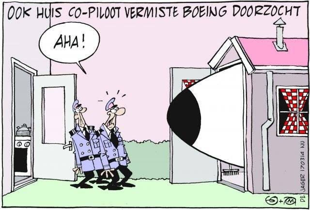 Cartoon : Vermiste vliegtuig gevonden bij huis co piloot !